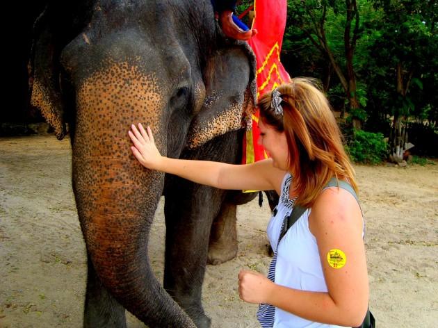 Прогулка на слонах вокруг  Храма Истины в Паттайе