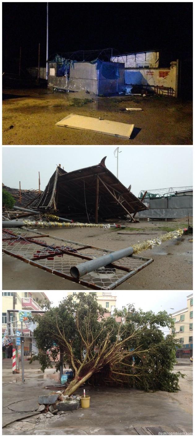 Последствия Усаги фото разрушения в Хуэдунь