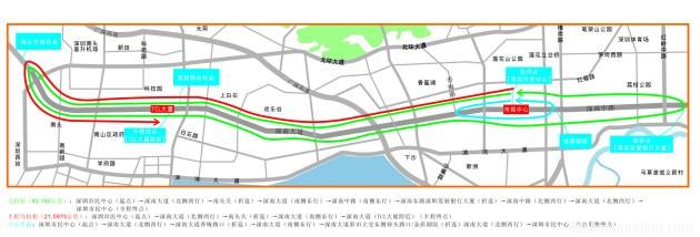 Карта маршрута международного городского марафона в Шэньчжэне